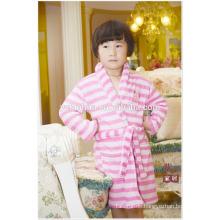 Knie Länge rosa Streifen Mädchen Kinder Kinder weiche warme Fleece Bademantel