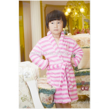 Knee Length Pink Stripe Girls children kids Soft Warm Fleece bathrobe