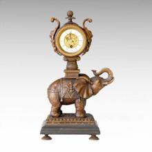 Uhr Statue Elefanten Glocke Bronze Skulptur Tpc-014