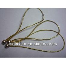 cordón de goma elástico de bolas pequeñas de metal, brillo elástico dorado