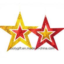 Laser Card Paper Set of Hanging Star Decoration / Hang Paper Star
