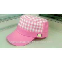 New Arrival Custom Checked Embroidery Flat-top Military Caps China Factory