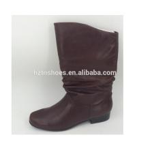 26.0cm hohe Frauen echtes Leder Stiefel Großhandel Slip auf Winter / Herbst hohen Winter Stiefel flache Sohle Damen Stiefel