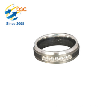 Fashion design jewelry crystal mosaic stainless steel laser cut ring