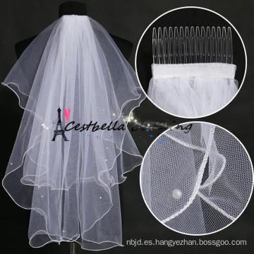 Lastest Blanco de marfil clásico y velo nupcial por encargo de la boda