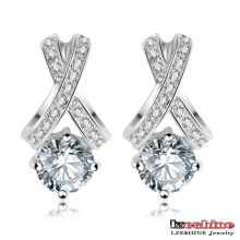Platinum Plated Austrian Crystal Women′s Earrings (ER0136-B)