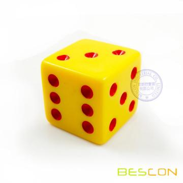 One Inch Plastic Die Opaque Yellow with Red Dots 25MM Dice
