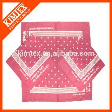 Bandana de algodón personalizada de algodón personalizado cuadrado de marca