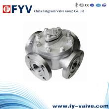 Válvula de esfera flangeada de quatro vias de aço inoxidável manual