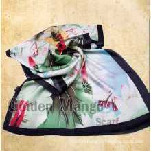 Fashion floral digital print 100% silk scarf