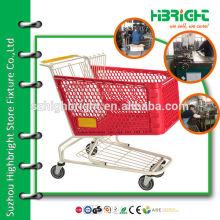 180L plastic frame basket shopping cart for shopping mall