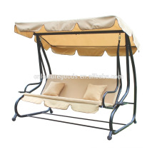 Luxury metal garden swing chair bed with canopy side cup tray