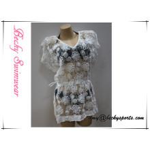 Color de encargo de la blusa del coverup de Simwear de las nuevas señoras del diseño con el cordón floral, alta calidad