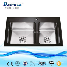 Hand craft tempered glass double bowl kitchen rinses sink with faucet