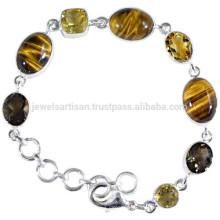 Natural Tiger Eye Citrine & Smoky Quartz Gemstone with 925 Silver Designer Bracelet