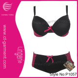 Women Set New Design Bra /Large Size Black Lingerie with Lace (P1057)