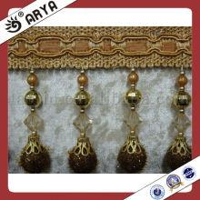 Frange Pom Pom décorative avec perles en plastique pour rideau ou lampe
