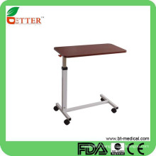 adjustable hospital over bed table with castors