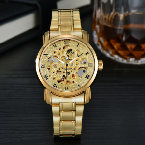custom bands stainless steel gold plated mens wrist watch