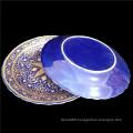 14 Inch big Ceramic Dinner Restaurant Modern Dishes Plates blue colorful muslim Ceramic Dinner plate