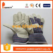 Luva de segurança do couro do grão do porco CE / luvas do trabalho (DLP535)
