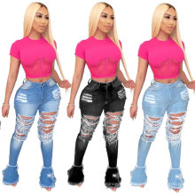 Fashion Sexy Ripped Hole Jeans Women Trousers Flare Pants