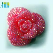 2016 charme resina rosa flor plana de volta chunky grânulo de resina solta
