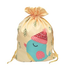 Christmas sack with printed little bird pattern