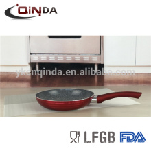 Red metallica marble coating frying pan with induction