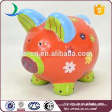 2015 Популярные уникальные керамические красные Piggy монет Банка для ребенка