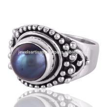 Schöne Perle Edelstein 925 Sterling Silber Ring