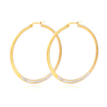 High Quality Wholesale Stainless Steel Crystal Hoop Earring Gold Earrings For Women