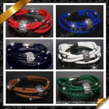 La joyería de cuero, aleación pavimenta la pulsera cristalina, joyería de las pulseras de la manera (FB086)