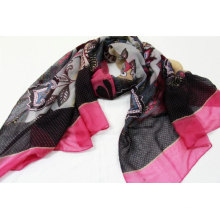wholesale floral print scarf women hijab colorful  flower and wave point combination scarf for ladies stylish