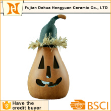 Pumpkin Ceramic LED Arts for Halloween Decoration