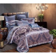 Jacquard de lujo bordado satinado boda conjunto de cama tamaño de la reina