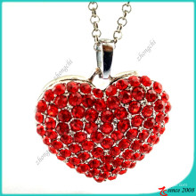 Red Stone Alloy Heart Necklace Jewelry (FN16041806)