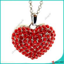 Красный камень Сплав Сердце ожерелье ювелирные изделия (FN16041806)