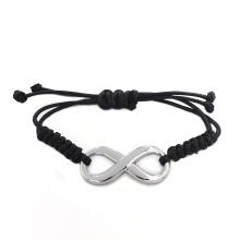 2016 Новый дизайн Бесплатный пользовательских сообщений Черный Плетеный кожаный браслет браслет