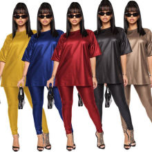 2021 Spring Good Quality O Neck Solid Short Sleeve PU Leather Pants Women′s Clothing Summer Sets