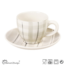 3oz Cup and Saucer with Light Color Hand Painted Design