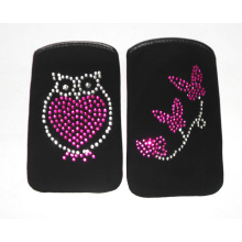 Black PU Material Phone Pouch with Gems