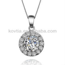 Cubic zircon diamond jewelry round sterling silver pendant