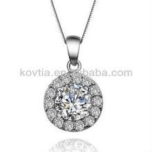 Cubic zircão diamante jóias rodada pingente de prata esterlina