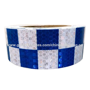 Design de pente de mel azul e branco Verificação de pequenas fitas de segurança reflexivas