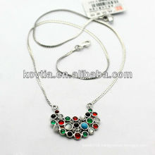New arrival 925 silver jewelry colourful diamond necklace