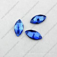 La forma de los ojos de caballo cose la piedra de cristal para el vestido de novia Crystal Ab Dz-3066