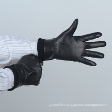mens black genuine leather gloves with rib cuff