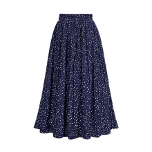 Printed Polka Dot Elastic Polyester Pleated Long Skirt