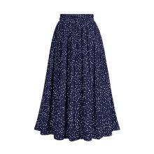 Длинная плиссированная юбка из эластичного полиэстера с принтом в горошек